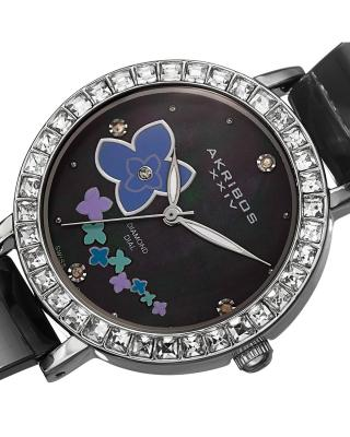Akribos XXIV 阿克波斯 黑色陶瓷矿物水晶镜面石英女士腕表