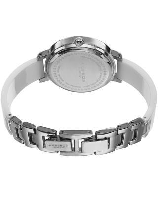 Akribos XXIV 阿克波斯 白色陶瓷表带镶水晶石英女士腕表