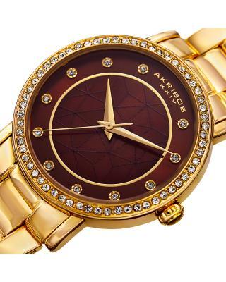 Akribos XXIV 阿克波斯 合金手链镶水晶表圈女士石英腕表