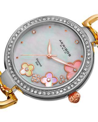 Akribos XXIV 阿克波斯 合金手链镶水晶珍珠母表盘女士石英腕表