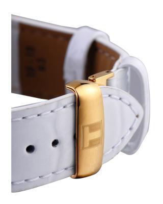 瑞士名表 Tissot 天梭 力洛克系列白色真皮自动机械中性表T41.5.453.86