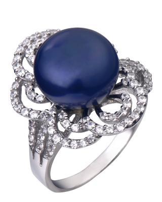高级定制 Celine Fang 赛琳.方 奢华大气925银精镶锆石复古黑色天然珍珠戒指