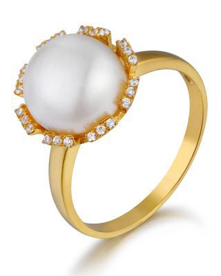 Celine Fang 赛琳.方 925银镀金个性时尚白色珍珠戒指 9#