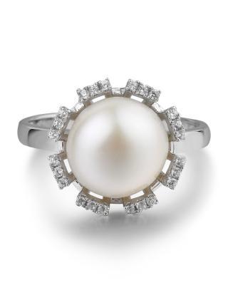 【指尖绽放的花朵】Celine Fang 赛琳.方 925银个性时尚白色珍珠戒指 7#