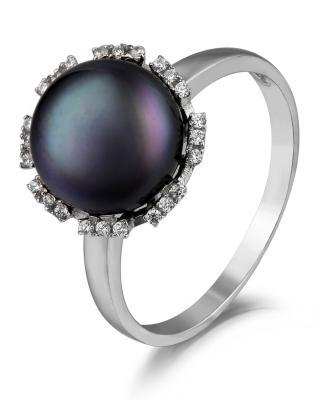 Celine Fang 赛琳.方 925银个性时尚黑色珍珠戒指