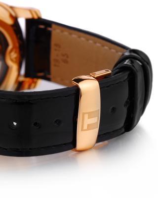 瑞士名表 Tissot 天梭 力洛克系列黑色真皮自动机械中性腕表T41.6.423.96