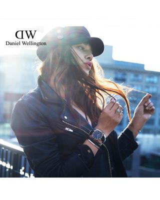 瑞士 Daniel Wellington 丹尼尔惠灵顿 DW尼龙带石英女表 黑表盘 DW00100151