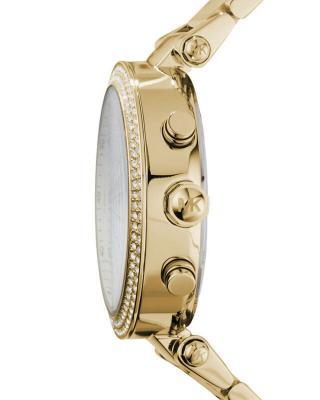 Michael Kors 迈克高仕陶瓷圆盘三眼镶钻日历金色表带防水石英女士手表 MK5354