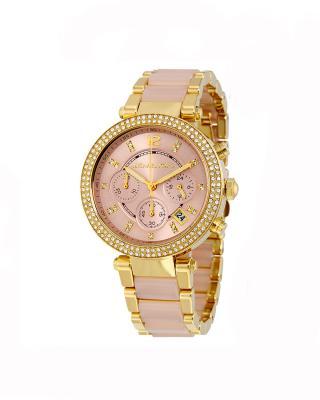 Michael Kors 迈克高仕玫瑰金色镶钻三眼石英女士手表 MK6326