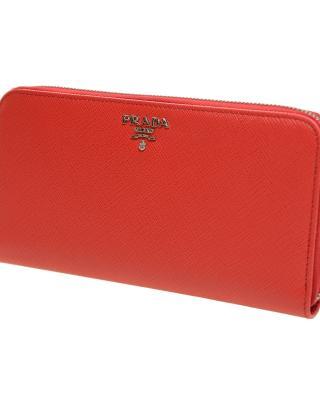 意大利 PRADA 普拉达 红色牛皮长款拉链女士钱包 1ML506 QWA F0RGA