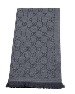 意大利 GUCCI 古驰 灰色双G印花羊毛围巾 1334833G2001160