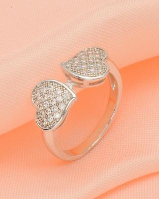 【新用户专享】Celine Fang 赛琳.方 时尚双心爆款潮流个性镀白金浪漫女士戒指