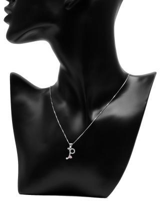 Celine Fang 赛琳.方925银镀白金0.74克拉粉色锆石字母P形时尚女士项链