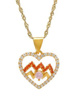 Celine Fang 赛琳·方 星座系列 925银镀金水瓶座心形项链 橙+粉