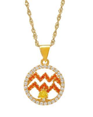 Celine Fang 赛琳·方 星座系列 925银镀金水瓶座圆形项链 橙+黄