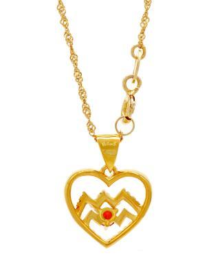 Celine Fang 赛琳·方 星座系列 925银镀金水瓶座心形项链 橙+红