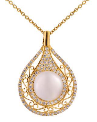 Celine Fang 赛琳.方 925银镀金奢华高贵白色珍珠吊坠 赠送链子