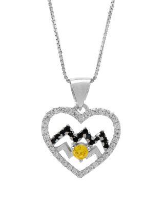 Celine Fang 赛琳·方 星座系列 925银水瓶座心形项链 黑+黄