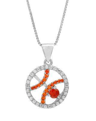 Celine Fang 赛琳·方 星座系列 925银双鱼座圆形项链 橙+红