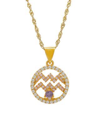 Celine Fang 赛琳·方 星座系列 925银镀金水瓶座圆形项链 粉+紫