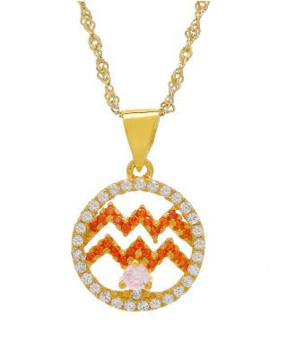 Celine Fang 赛琳·方 星座系列 925银镀金水瓶座圆形项链 橙+粉