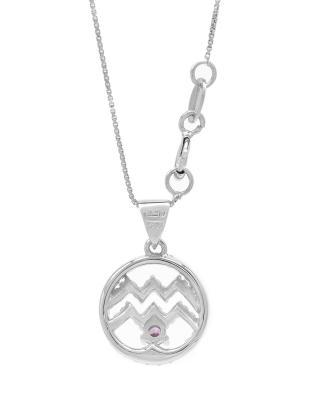 Celine Fang 赛琳·方 星座系列 925银水瓶座圆形项链 粉+紫