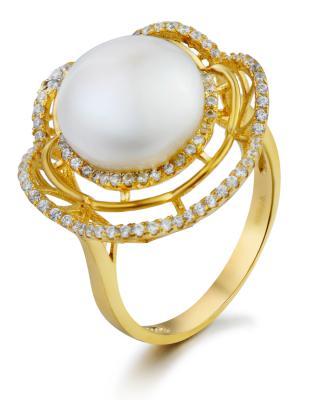 Celine Fang 赛琳.方 925银镀金唯美动人白色珍珠戒指 #8