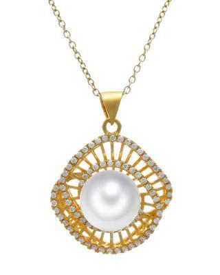 Celine Fang 赛琳.方 925银镀金现代时尚白色珍珠吊坠 赠送链子