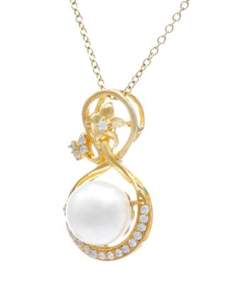 Celine Fang 赛琳.方 925银镀金古典优雅白色珍珠吊坠 赠送链子