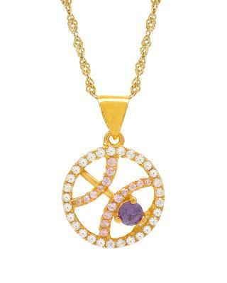 Celine Fang 赛琳·方 星座系列 925银镀金双鱼座圆形项链 粉+紫