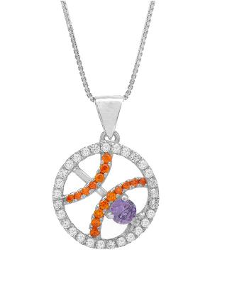 Celine Fang 赛琳·方 星座系列 925银双鱼座圆形项链 橙+紫