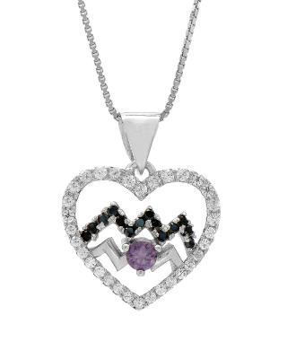 Celine Fang 赛琳·方 星座系列 925银水瓶座心形项链 黑+紫