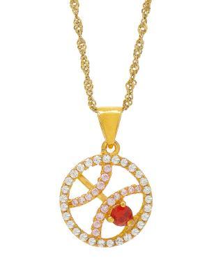 Celine Fang 赛琳·方 星座系列 925银镀金双鱼座圆形项链 粉+红