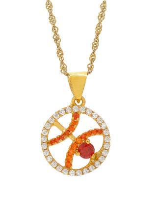 Celine Fang 赛琳·方 星座系列 925银镀金双鱼座圆形项链 橙+红