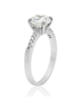 Buckley London 白色圆形水晶银戒指
