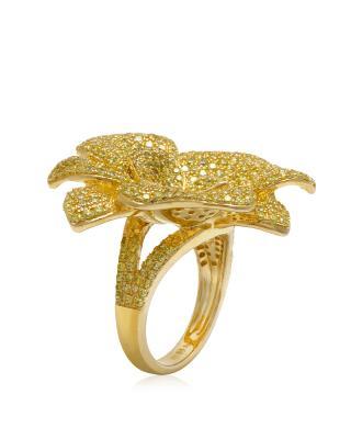 APM MONACO 纯银镶晶钻金色花朵戒指