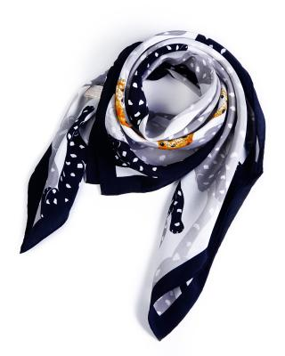 【法式优雅】Cartier 卡地亚 黑白双色浪漫波点经典豹子款女士真丝丝巾