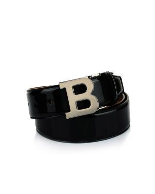 瑞士 Bally 巴利 男士黑色板扣小牛皮皮带 B BUCKLE 40 M A/410