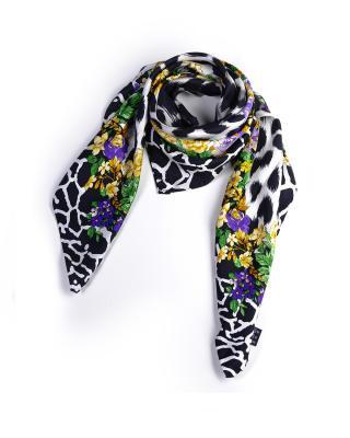 意大利 Versace 范思哲 花色豹纹女士方形丝巾 F005TWA9917
