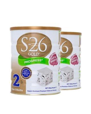 澳洲惠氏S26金装新生婴儿牛奶粉2段 6-12个月宝宝 900g 2罐装