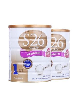 澳洲惠氏S26金装新生婴儿牛奶粉1段 0-6个月宝宝 900g 2罐装