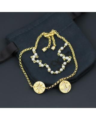 APM Monaco 金黄色纯银镶晶钻珍珠手链配锚陀及指南针吊饰