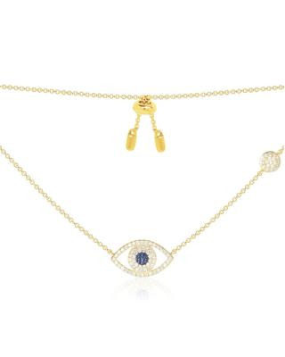 APM Monaco 金黄色纯银镶晶钻幸运眼项链