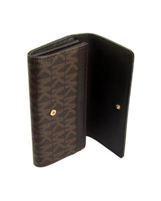 美国 Michael Kors迈克高仕 深棕色牛皮金属LOGO印花女士长款钱包 32S4GFT-E3B-BROWN