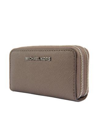 美国 Michael Kors迈克高仕  烟灰色十字纹皮革女士拉链钱包 32F6STV-D4L-CINDER