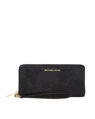 美国 Michael Kors迈克高仕 黑色蕾丝花皮女士长款拉链手拿包 32H6GL8-E7T-Black
