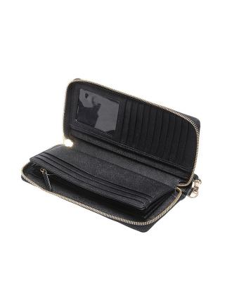 美国 Michael Kors迈克高仕 黑色十字纹牛皮女士长款手拿包 32S5GTV-E9L-BLACK