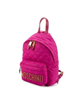 意大利MOSCHINO莫斯奇诺  粉色尼龙铆钉菱格纹女士双肩包 B7610-8203-2234