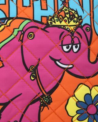 意大利MOSCHINO莫斯奇诺 橙色尼龙卡通印花拉链开合女士手拿包 B8403-8204-1064