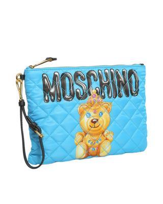意大利MOSCHINO莫斯奇诺 蓝色尼龙小熊印花拉链开合女士手拿包 B8405-8205-1341